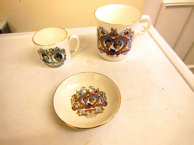 Princess Diana /lady Diana Spencer Vintage 1981 Commemorative China Cups/dish