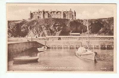 Hotel Inner Harbour And Lifeboat Portpatrick Wigtown 1937 Valentines A6395
