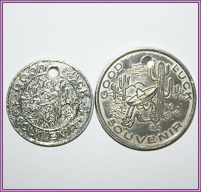 Vintage South Carolina Of The Border Good Luck Coin Token Pair Lot Old Sombrero