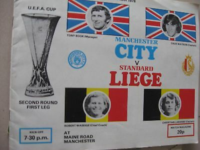 1978-79 MAnchester City v Standard Liege UEFA Cup 2nd round 1st leg 18.10.1978