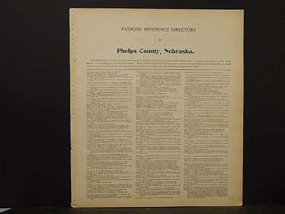Nebraska State Map Phelps County Map, Patron's Reference Directory 1903  K7#18