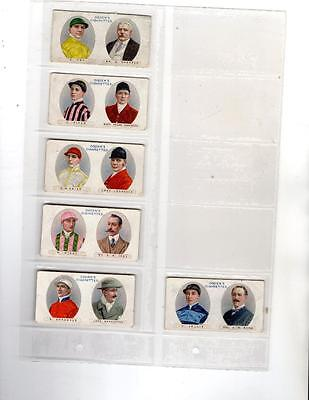 Six Ogdens Cigarette Cards from 1914 - Owners Racing Colours & Jockeys