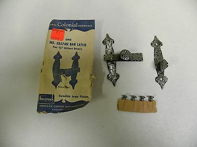 NOS Amerock Colonial Cabinet Door Bar Latch Swedish Iron Finish E8574SI (A2)