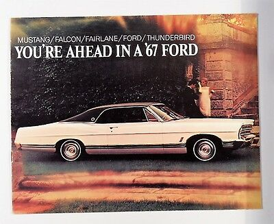 1967 Ford Cars Mustang Falcon Fairlane Thunderbird Brochure