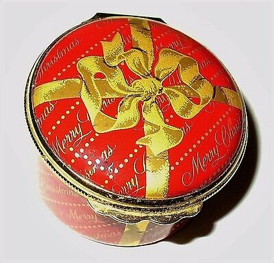 """Halcyon Days Enamel Box- Red """"merry Christmas"""" Gift - Gold Ribbon & Bow - Gump's"""