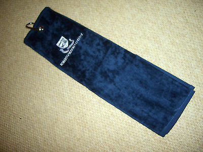2 X  TRI FOLD  GOLF BAG TOWELS - NEW  - 2x NAVY  - 100% COTTON