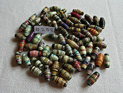 PAPER BEADS = 11mm x  60pcs. Handmade for  Crafting, Jewellery, Curtains etc.