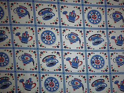 "Vtg Cotton Novelty Fabric Red White Blue Kitchen Teacups Tea Pot Clock 35""x66"""
