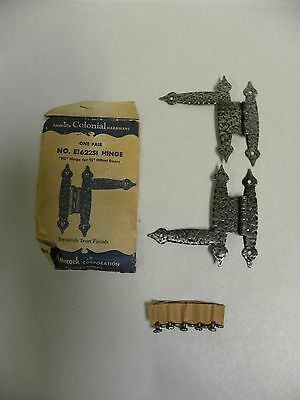 "Pr NOS Amerock Colonial 3/8"" Offset Cabinet Door Hinge Swedish Iron E1622SI (A2)"