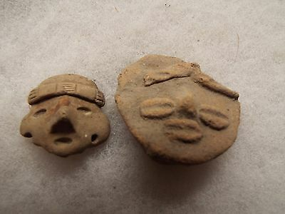 Pre-Columbian POTTERY  NEAT LITTLE FIGURE HEAD LOT 3 LOT OF 2