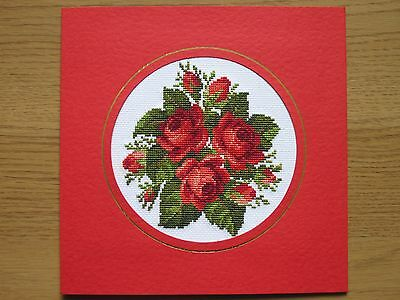 Ex Large Completed Cross Stitch Card Roses