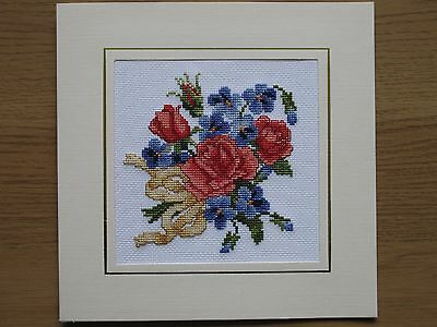 Ex Large Completed Cross Stitch Card Mother's Day Bouquet