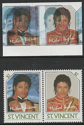St Vincent (2247) - 1985 Michael Jackson pair Colours SHIFTED & OMITTED u/m