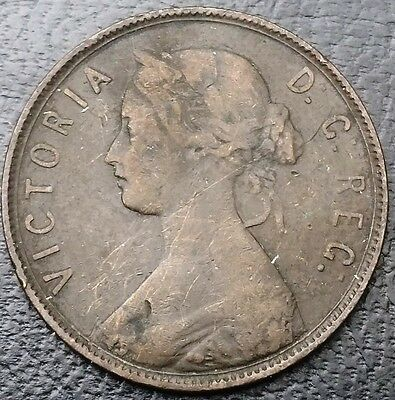 1890 Newfoundland Canada Large Cent One Penny - Nice Grade - Free Combined S/H