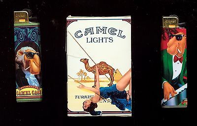 Camel Cigarettes Memorabilia 2 Camel Joe  Lighters + Empty  Pack  (3G203(