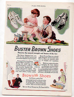 Vintage BUSTER BROWN SHOES Ad 1924 Children/Doll/Baseball/Wood Duckie/Mary Jane