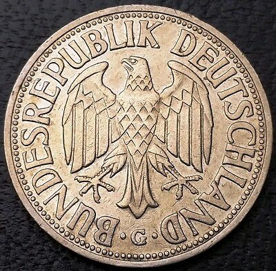 1955G Germany 1 Mark Coin - KM# 110 ***KEY DATE, NICE GRADE*** Great Condition