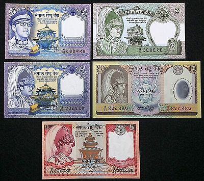 NEPAL: Lot of 5 Banknotes, 1 2 5 10 Rupees, UNC, P-22 29 37 46 54, 1981 1991