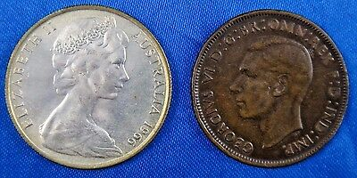 Australia 1941 Penny 1966 50 Cents Silver Coin Lot of 2