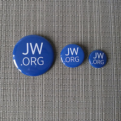 JW.org / Jehovas Zeugen / Button / Pin / Badge / 1.25 Inch / 32 mm / Blau