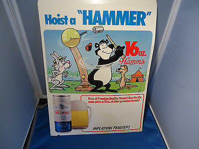 Hamms bear beer advertising sign cardboard 16oz can carnival fair Olympia
