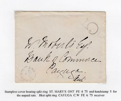 CANADA SUPERB STAMPLESS COVER 5cts FOR UNPAID RATE ST MARY'S TO CAYUGA