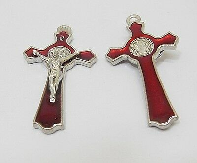 20X Enamel Red Charm Cross Pendant Jewellery Finding 5.3x2.9x0.8cm