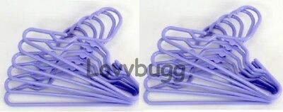 "Purple Lavender Hangers 10 Ten for 15"" 18"" Doll Clothes American Girl Bitty Baby"