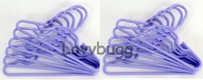 """Purple Lavender Hangers 10 Ten for American Girl 15"""" 18"""" Doll Clothes TRULY US"""