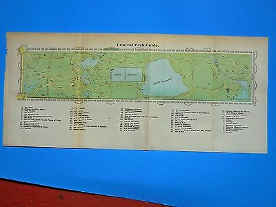 1869 ANTIQUE MAP (GUIDE) CENTRAL PARK, NEW YORK CITY; from SHANNONS MANUAL N.Y.C