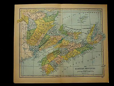 1891 Maritime Provinces Canada Original Colored Antique Map, Great Condition