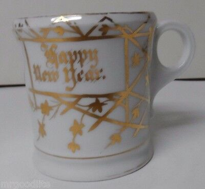 Very Old Porcelain Mustache Mug - MERRY CHRISTMAS - HAPPY NEW YEAR