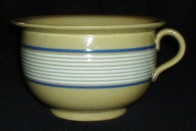 ANTIQUE BANDED YELLOW WARE CHAMBER POT w APPLIED HANDLE ~ VERY RARE STONEWARE!