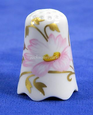 Porcelain Thimble by Sophienthal Germany Pink Flowers Gold Gilt Leaves Scalloped