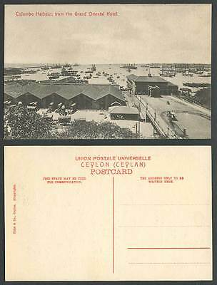 Ceylon Old Postcard Colombo Harbour from The Grand Oriental Hotel, Ships & Boats
