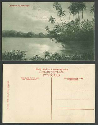 Ceylon Old Postcard Colombo by Moonlight Moon Night Palm Trees Panorama Lake 350
