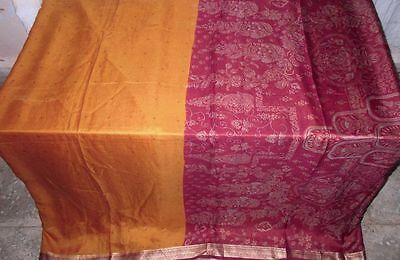 Maroon Yellow Pure Silk 4 yard Vintage Sari Saree SALE DEAL Comfortable #ADPSK
