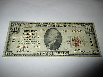 $10 1929 Jersey City New Jersey NJ National Currency Bank Note Bill #1182 Fine