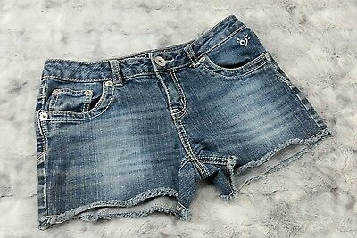 Justice Girls Size 14 R Blue Distressed Denim Cut Off Jeans Shorts