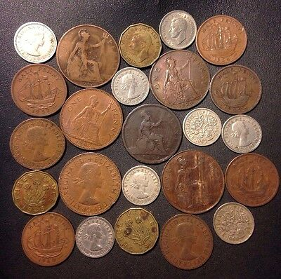 Vintage Great Britain Coin Lot - 1873-1967 - 24 Great Coins - Lot #F20