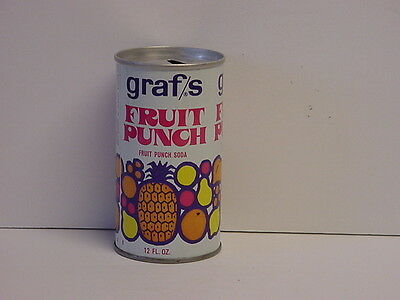 Vintage Graf's Fruit Punch Soda Straight Steel Pull Tab Pop Can Top Opened