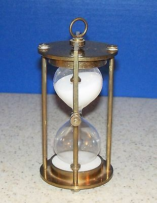 Vintage Antique Brass Hour Glass, Nautical, Maritime Sand Timer  (S)