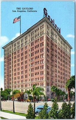 Los Angeles CA Postcard GAYLORD APARTMENT HOTEL Street View KROPP Linen  C1940s