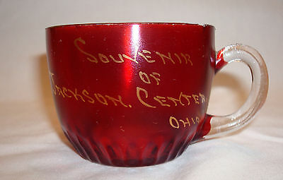 Antique EAPG Souvenir Ruby Red Flash Jackson Center Ohio Shelby County Glass Cup