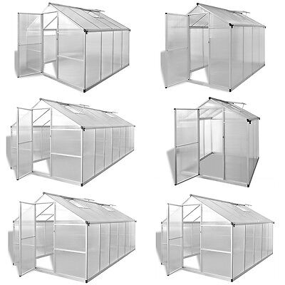 Aluminium Polycarbonate Garden Greenhouse with Base Frame Reinforced 6 Sizes