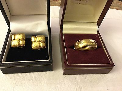 Mappin & Webb 18ct Solid Gold Earring And Matching Ring Set. VGC. 18 Grams