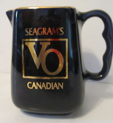 Seagram's Canadian Whiskey Pitcher VO Cobalt Blue Gold Trim Water Whisky Ceramic