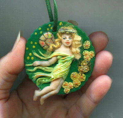 OOAK Fairy Flower Pixie Ornament Miniature Caitlin Art Doll Mermaid Sculpt Biel