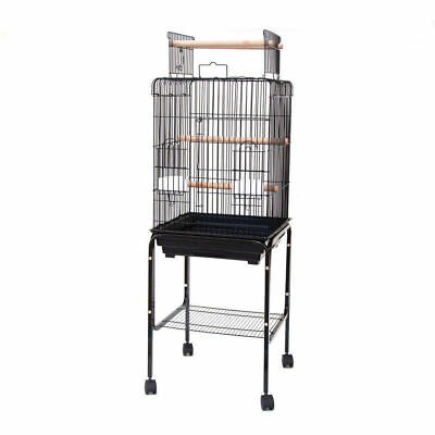 Playtop Parrot Cockatiels Cage with Stand 47x47x138cm White and Black