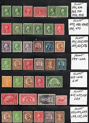 Old Mint Collection (Scott 331 - 711) 1920-1930s, CV $445.00, 2 Scans,70 Stamps